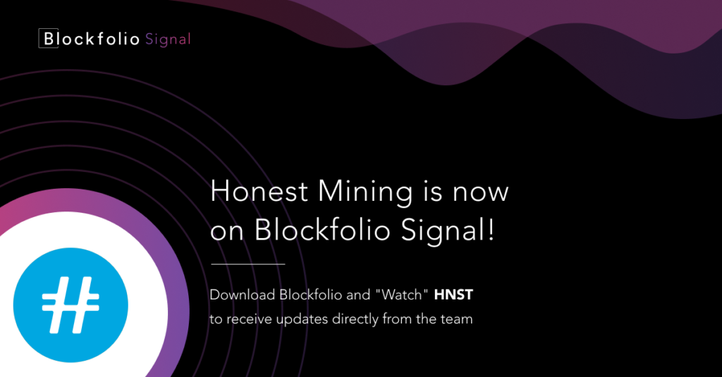 Honest HNST is now on Blockfolio Signal